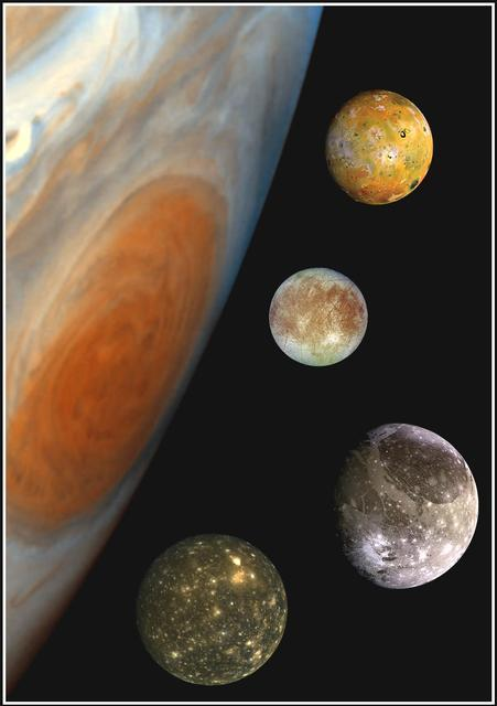 Les 4 plus gros satellites de Jupiter